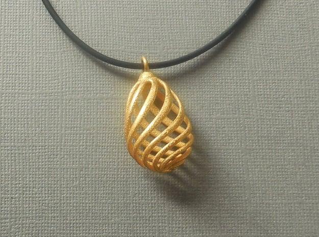 Flasket  - Pendant in Steel in Polished Gold Steel