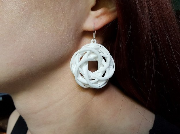 Interlocked tori earrings in White Natural Versatile Plastic
