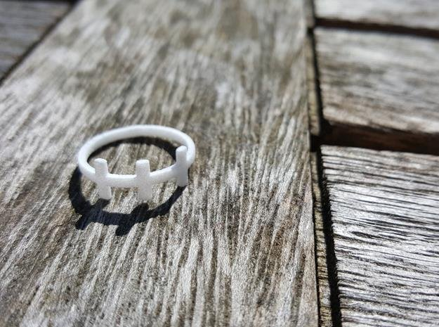Plus Cross Sign 3 Ring in White Natural Versatile Plastic: 4 / 46.5