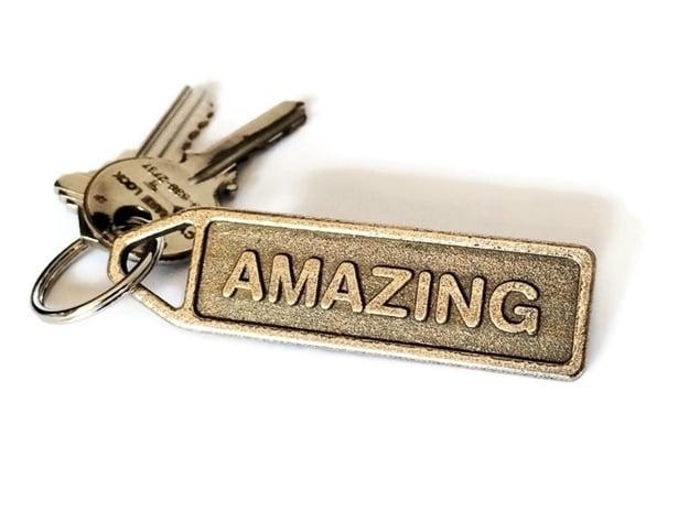 Personalized Keychain - Customized Keychain in Polished Bronzed Silver Steel