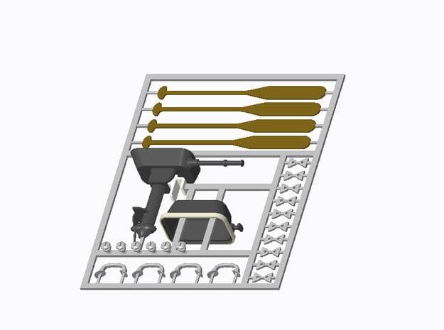 Beschlagsatz für Schlauchboot Typ-C 1:25 in Smooth Fine Detail Plastic