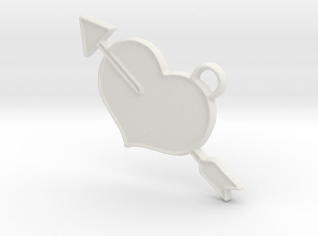 Shot Through The Heart Keyring in White Natural Versatile Plastic