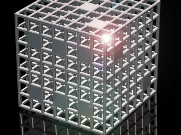 Steel Grid Dice (3 cm) in Polished Bronzed Silver Steel