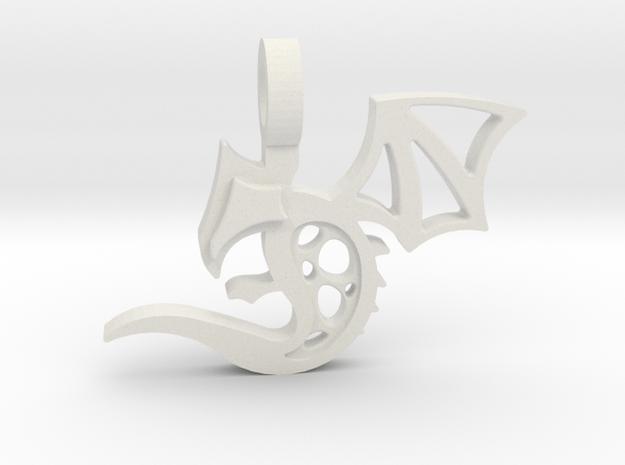 Baby Dragon Pendant in White Natural Versatile Plastic