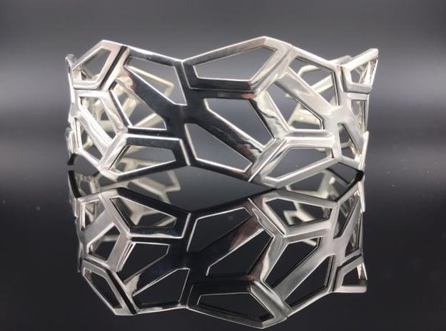 STEIN Cuff Bracelet in Polished Silver: Medium