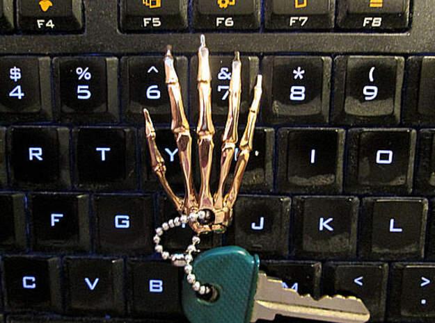 Hand Keychain Charm in Polished Bronze