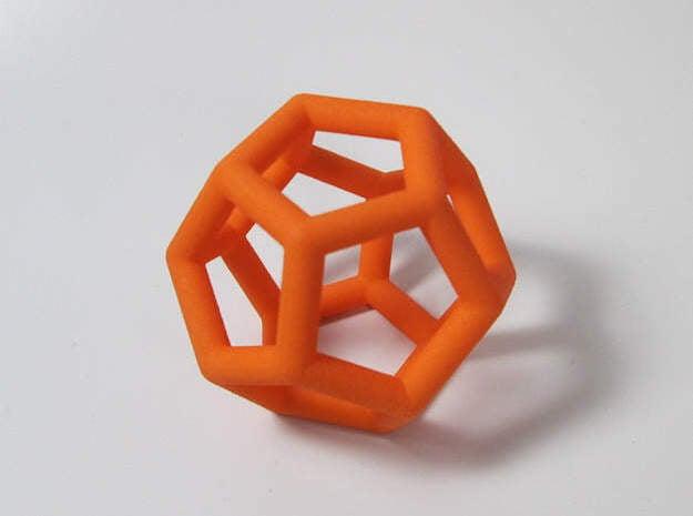 Dodecahedron Ornament in Black Natural Versatile Plastic