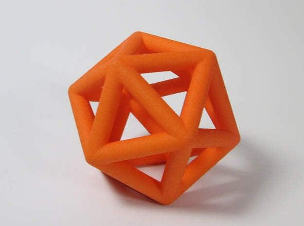 Icosahedron Ornament  in Orange Processed Versatile Plastic