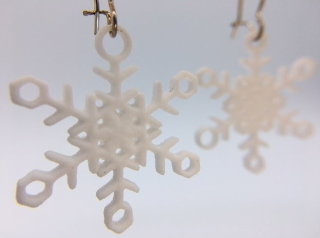 Ice Snowflake Earrings in White Processed Versatile Plastic
