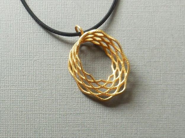 Mobius Mesh - Pendant in Steel in Polished Gold Steel