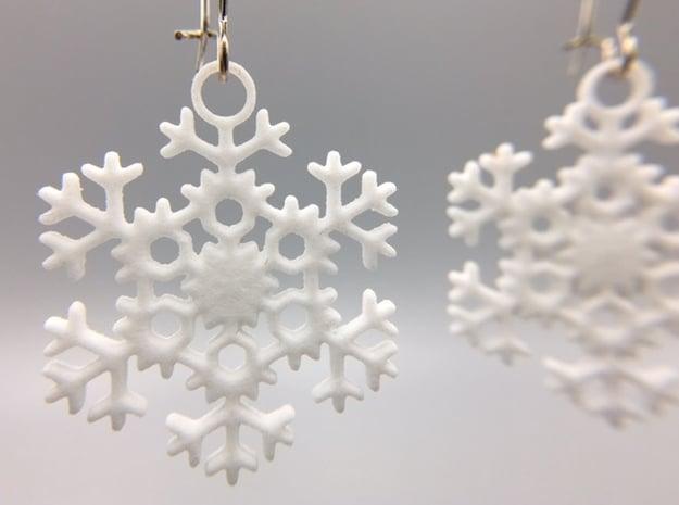 Blizzard Snowflake Earrings in White Processed Versatile Plastic