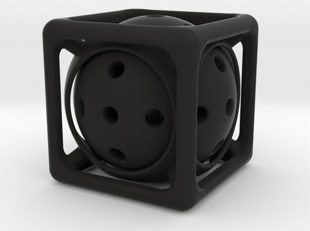 Ball-in-Cube  in Black Natural Versatile Plastic