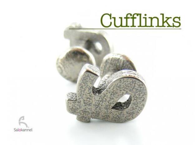 TS - Cufflinks in Polished Bronzed Silver Steel