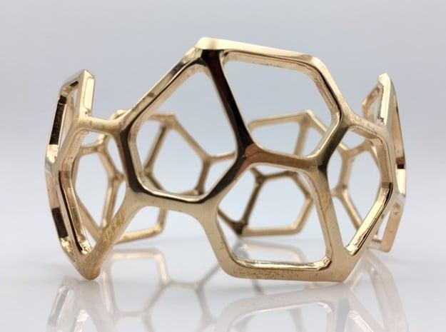 Catalan Bracelet - Pentagonal Hexecontahedron in Polished Bronze: Medium
