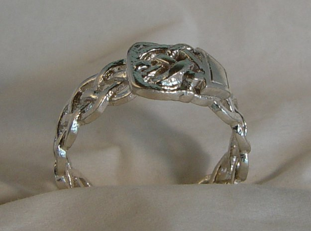 Braided Ring With Buckle in Natural Silver
