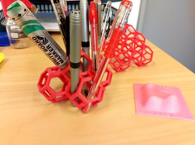 Truncated Octahedron Desk Organiser in Pink Processed Versatile Plastic
