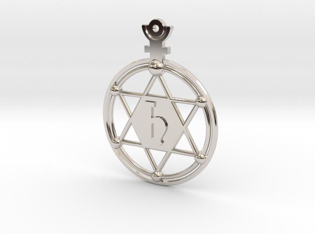 The Saturnus (precious metal earring/pendant) in Rhodium Plated Brass