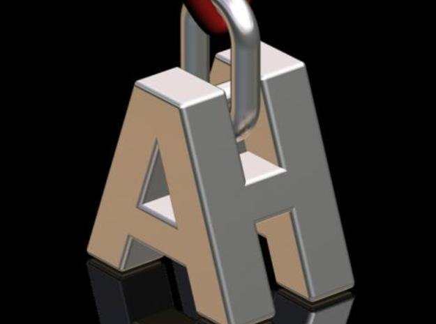 """""""A & H"""" 3d Logotype  in Polished Bronzed Silver Steel"""