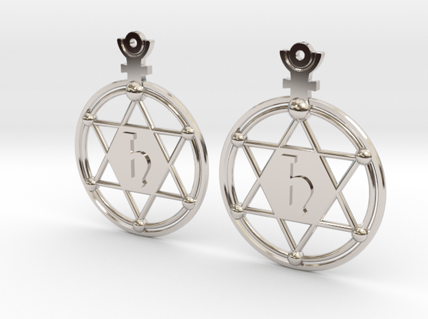 The Saturn (precious metal earrings) in Rhodium Plated Brass