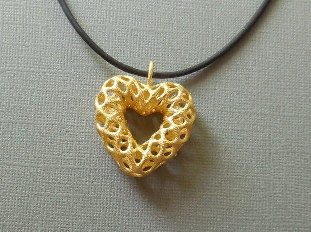 Mesh Heart  Pendant in Steel in Polished Gold Steel