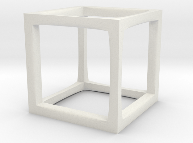 Cube Ring in White Natural Versatile Plastic: Small