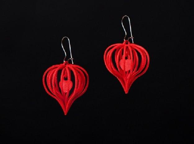 Earrings Heart In Heart - 2 Pcs in White Natural Versatile Plastic