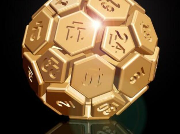 32-BIT SOCCER BALL DIE in Polished Bronzed Silver Steel