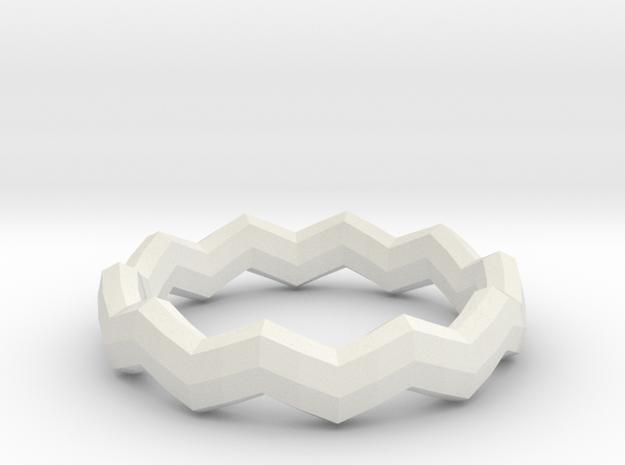 Zig Zag Ring in White Natural Versatile Plastic: 4 / 46.5