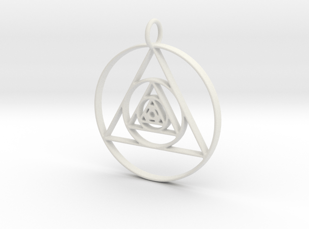 Modern Abstract Circles And Triangles Pendant in White Natural Versatile Plastic