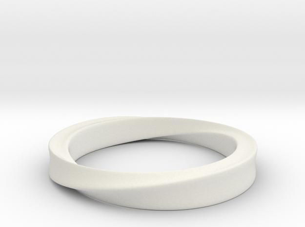 Möbius Ring in White Natural Versatile Plastic: 4 / 46.5
