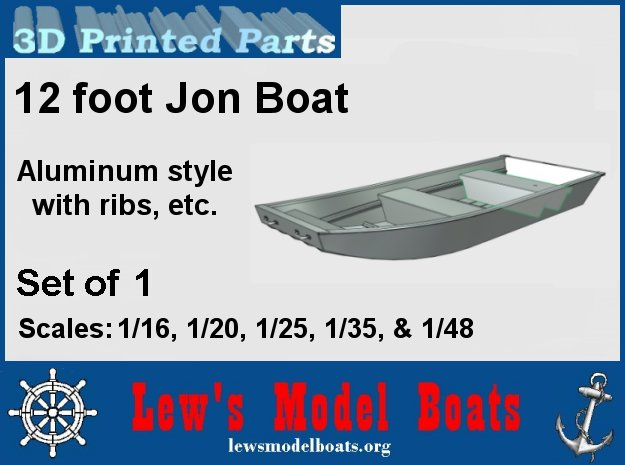12 foot Jon Boat (aluminum style) in White Natural Versatile Plastic: 1:16