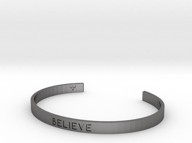 Believe Engrave Bracelet Sizes S-L in Polished Nickel Steel: Small