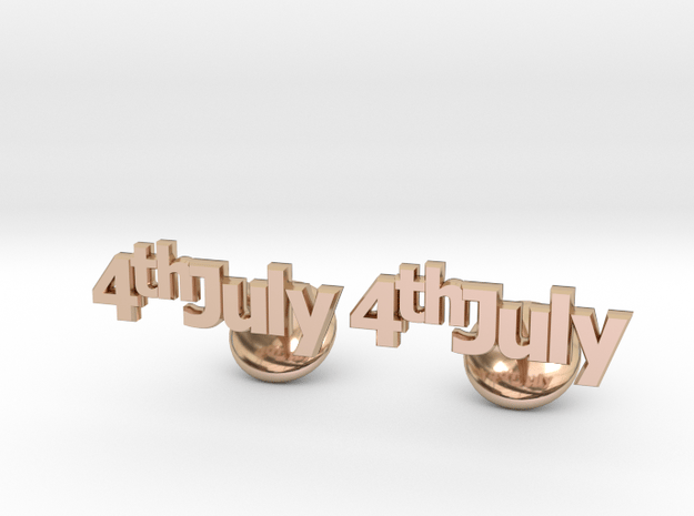 4th Of July Cufflinks in 14k Rose Gold Plated Brass
