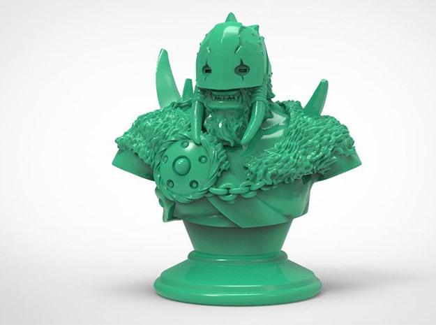 Warrior-Druid Bust in Green Processed Versatile Plastic: Medium
