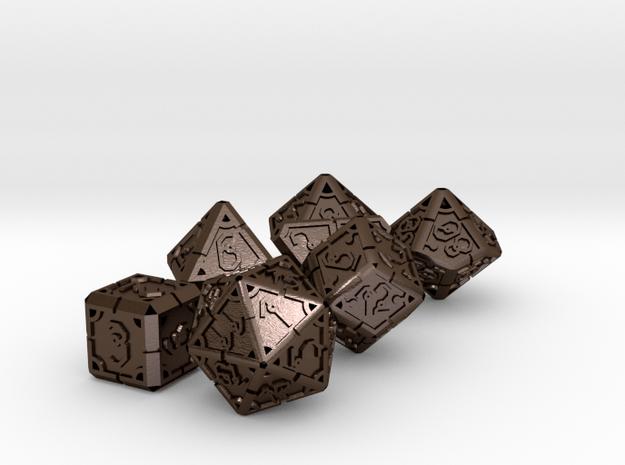 Vertex Dice RPG Set and Singles in Polished Bronze Steel: Polyhedral Set
