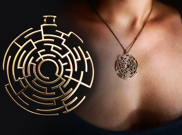 Labyrinthine Pendant in Polished Brass