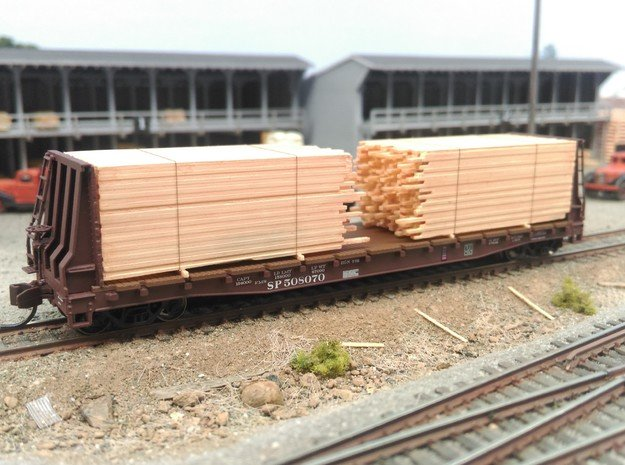 N  Lumber Load For 1 Flat Car: WOT, MTL, Athearn in Smooth Fine Detail Plastic