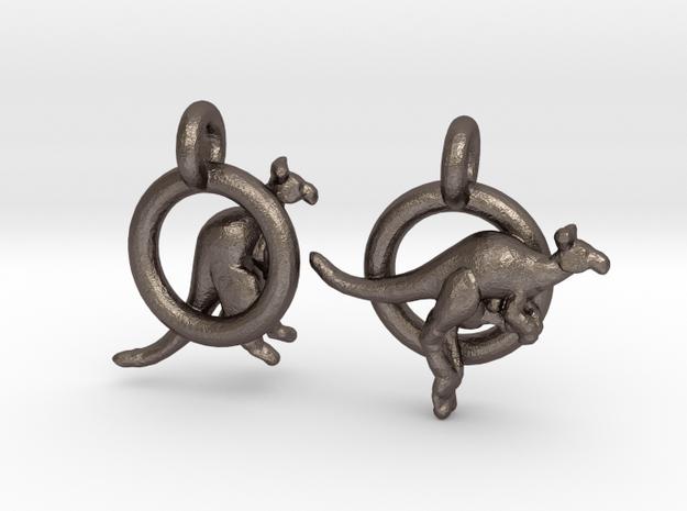 Kangaroos in Polished Bronzed Silver Steel