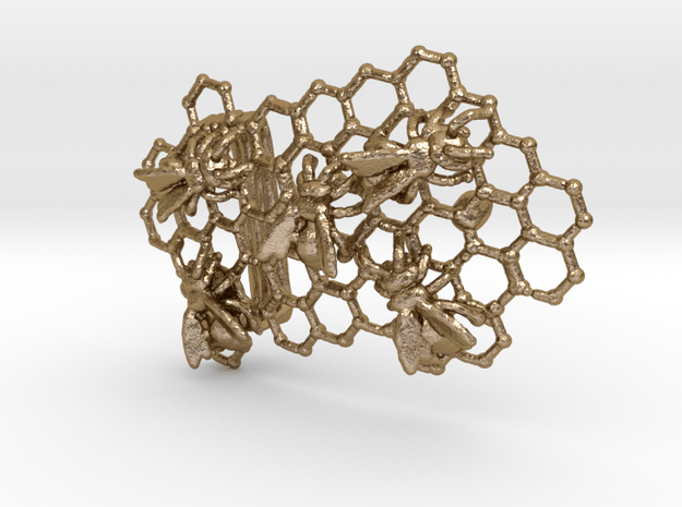 The Beekeeper's Belt Buckle in Polished Gold Steel