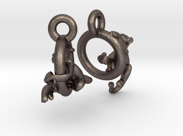 Monkeys On Rings in Polished Bronzed Silver Steel