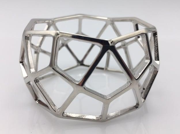Catalan Bracelet - Deltoidal Hexecontahedron in Rhodium Plated Brass: Medium
