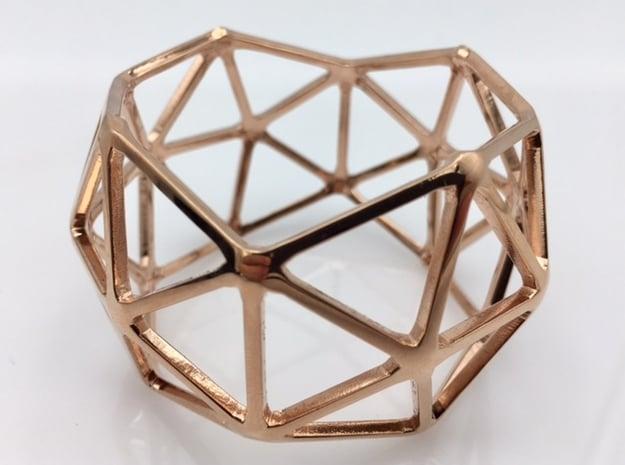 Catalan Bracelet - Pentakis Dodecahedron in 14k Rose Gold Plated Brass: Medium