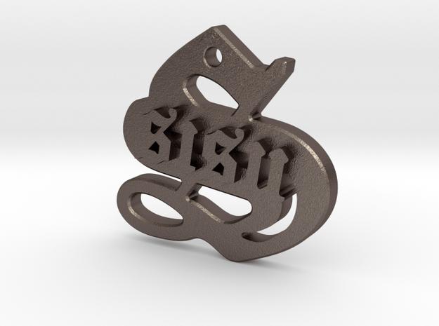 SISU (steel pendant) in Polished Bronzed Silver Steel