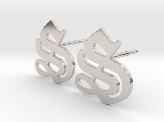 SISU (precious metal stud earrings) in Rhodium Plated Brass