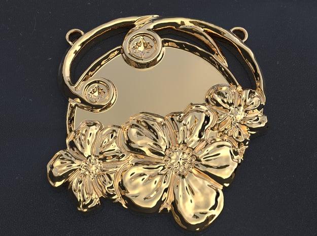 Art Nouveau Repoussé Flower Pendant SMK in Polished Brass