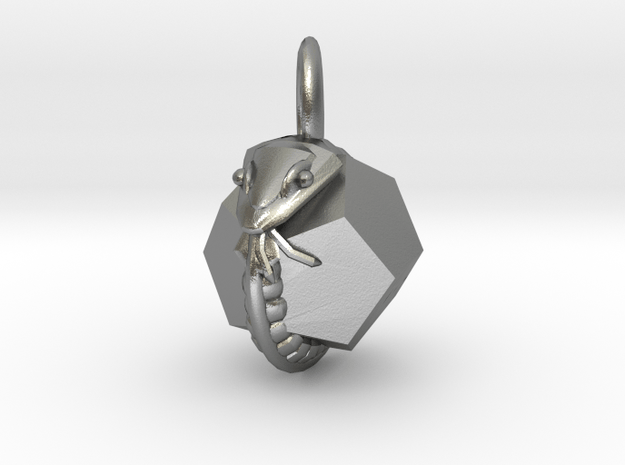 Dodecahedron Snake Pendant mini in Natural Silver