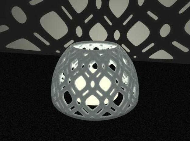 Netted Tea-Light Ring in White Natural Versatile Plastic