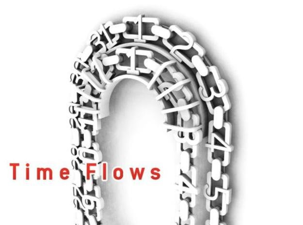 Time flows -Analog calendar in White Natural Versatile Plastic