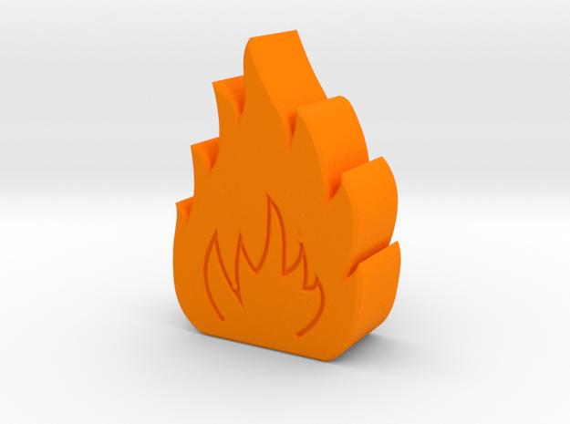 Small Fire Game Piece B in Orange Processed Versatile Plastic