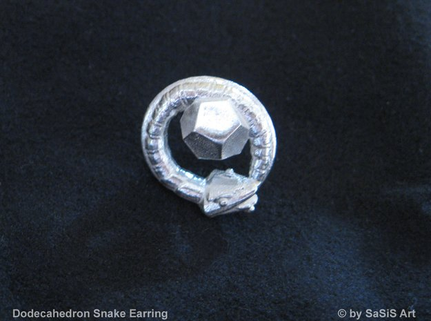 Dodecahedron Snake Earring in Natural Silver